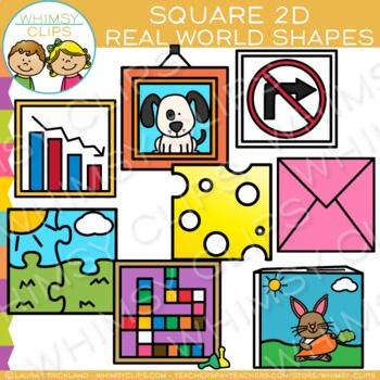 Square Real Life Objects 2D Shapes Clip Art.