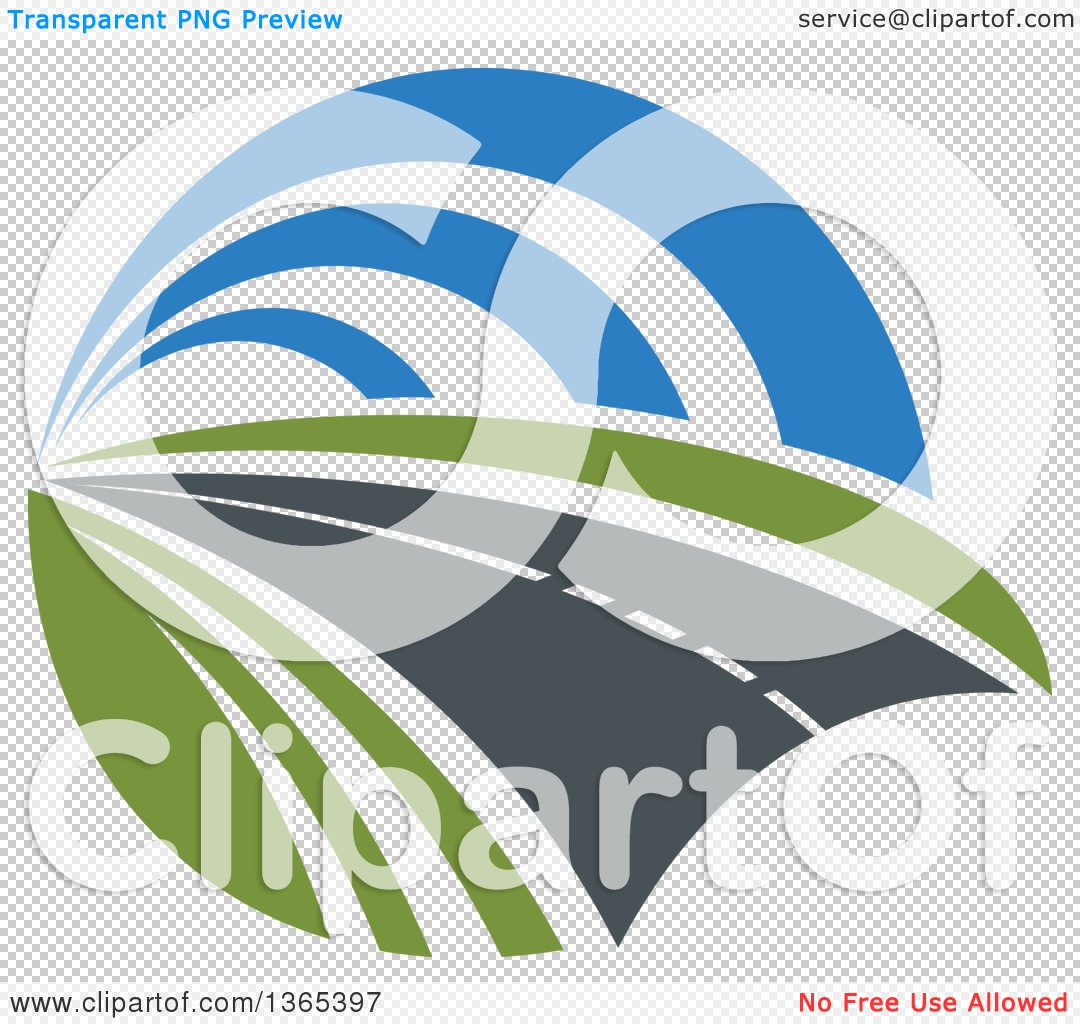 Clipart of a Curving Two Lane Road.