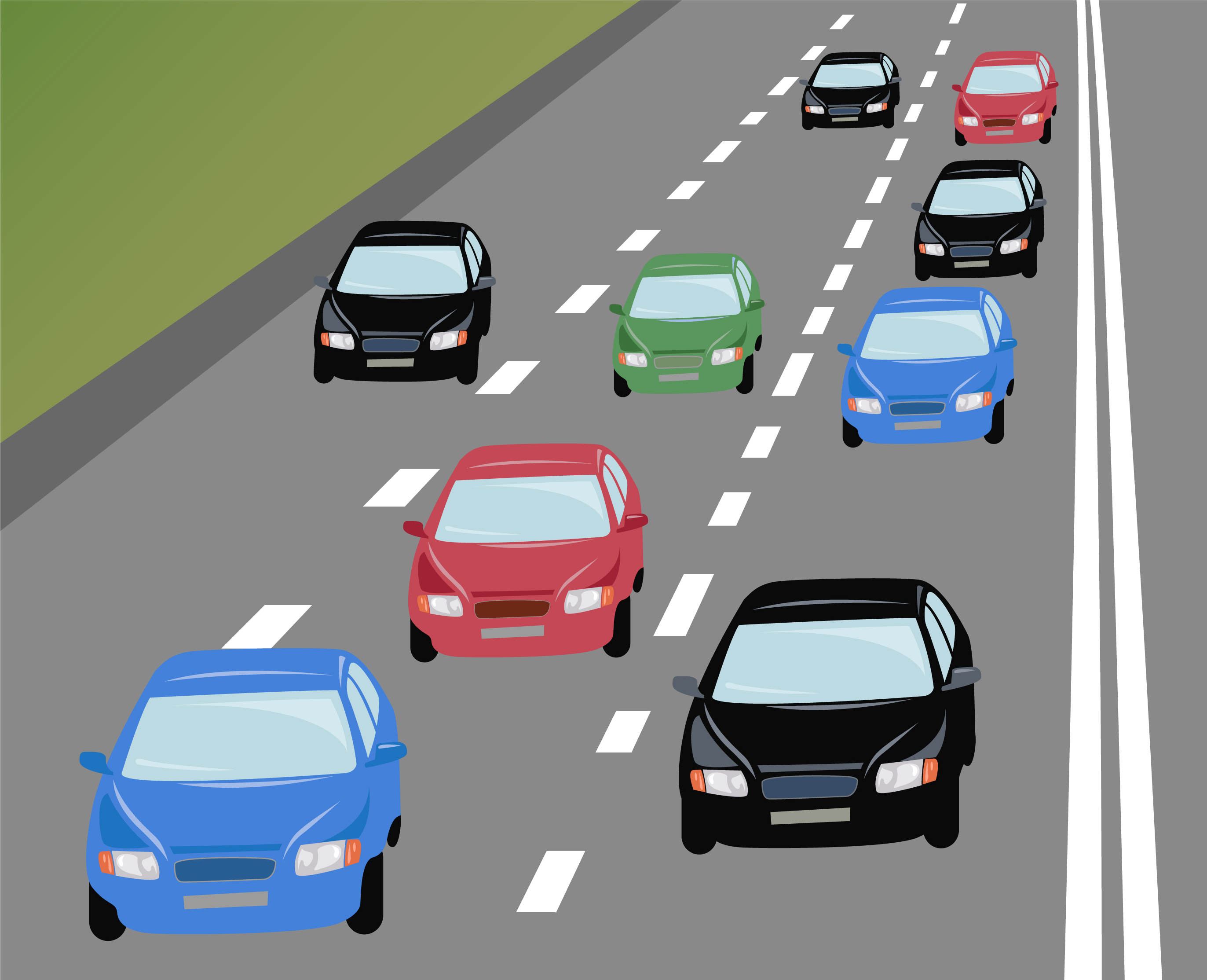 clipart of car accident on 2 lane road with traffic.