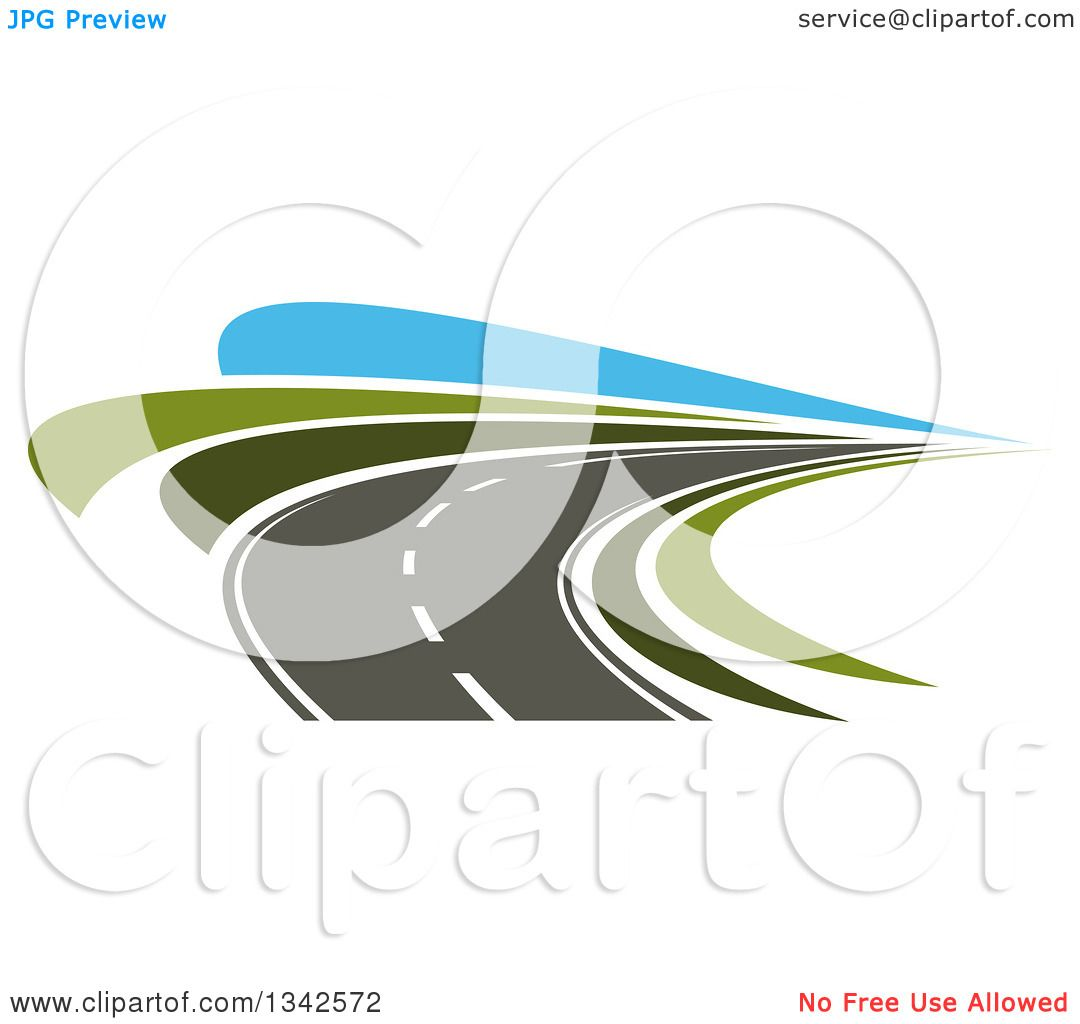 Clipart of a Curving Two Lane Road with Green Grass and Blue Sky.