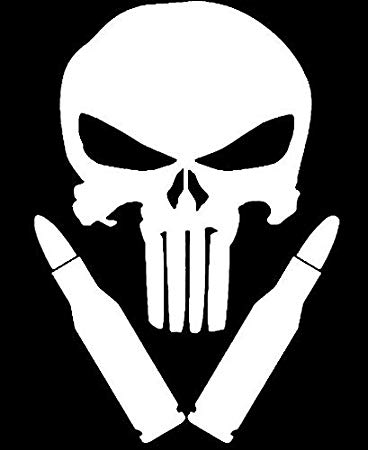 Punisher Skull Bullets 2nd Amendment Vinyl Decal Sticker.