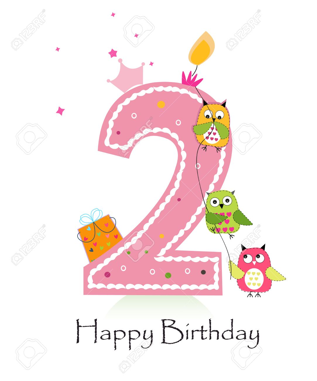 Happy Second Birthday Candle With Owls Baby Girl Greeting Card.
