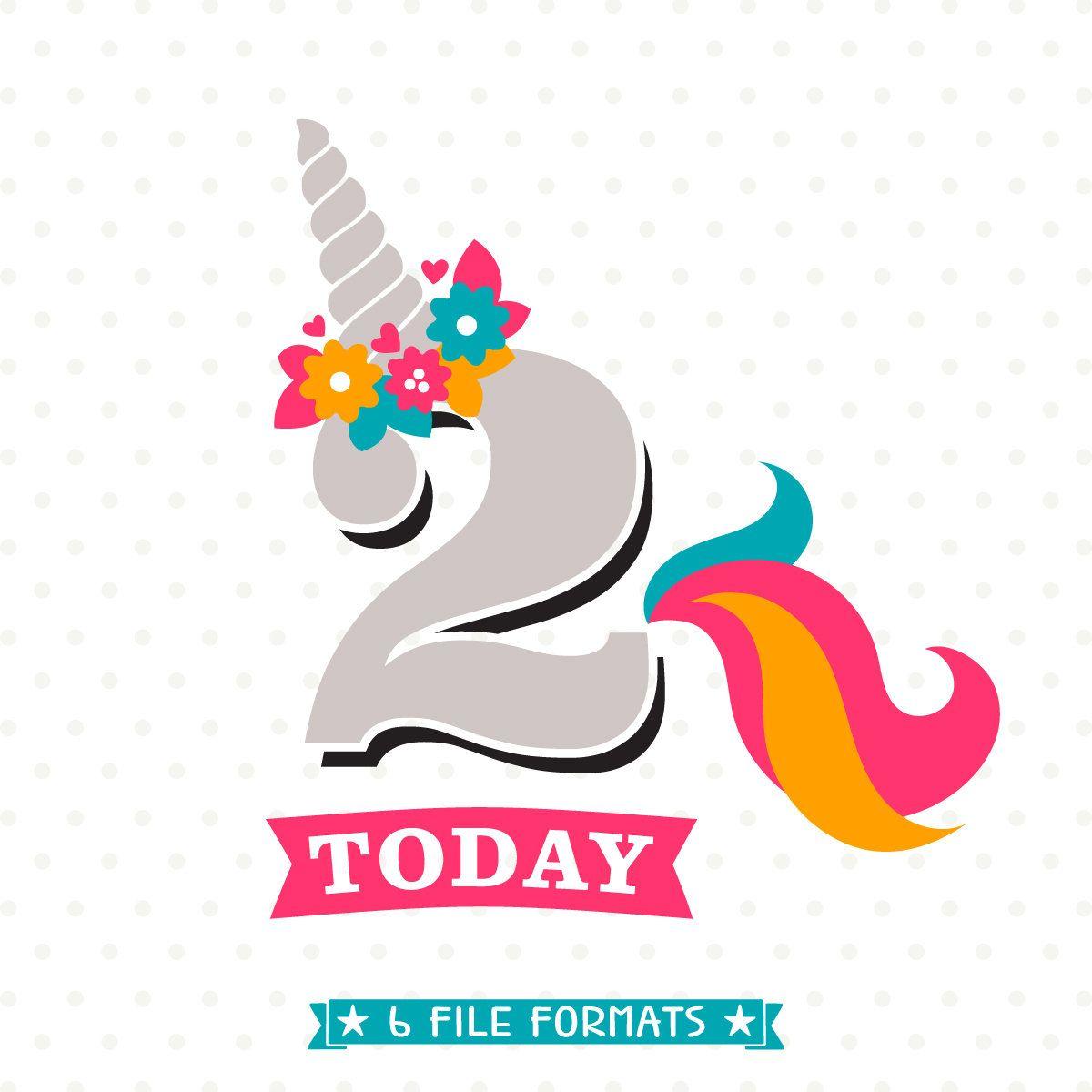 Unicorn Birthday SVG, 2nd Birthday SVG, Birthday iron on file.