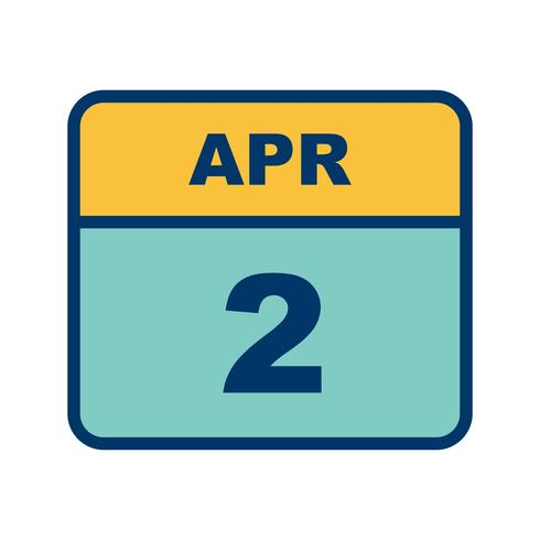 April 2nd Date on a Single Day Calendar.