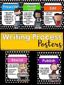 Black and White Polka Dot Writing Process Posters With.
