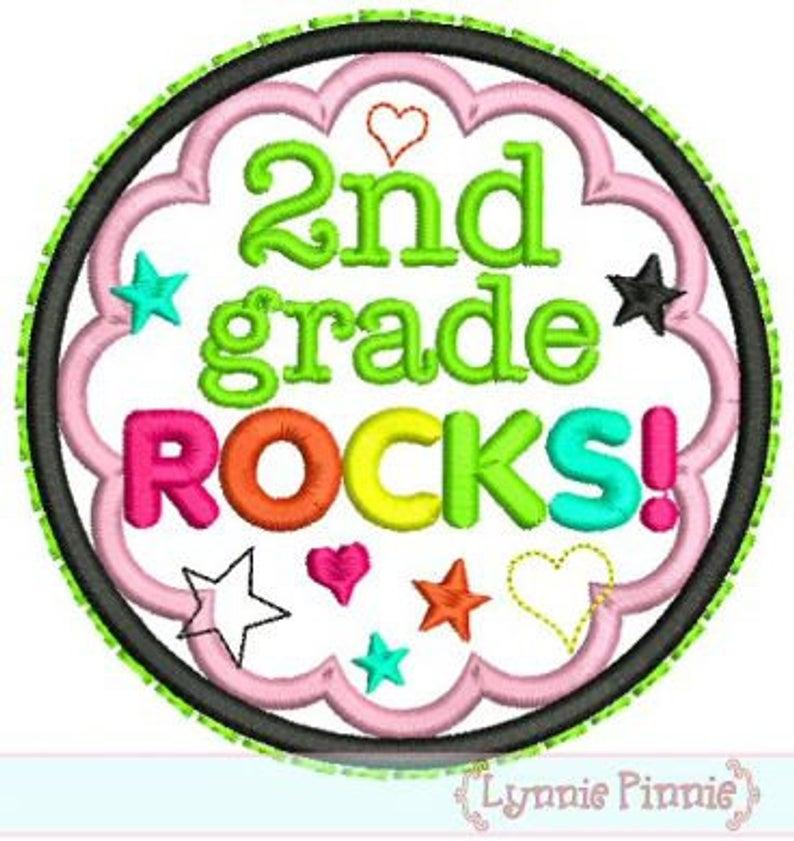 2nd GRADE ROCKS Applique Circle Scallop 4x4 5x7 6x10 Machine Embroidery  Design File.