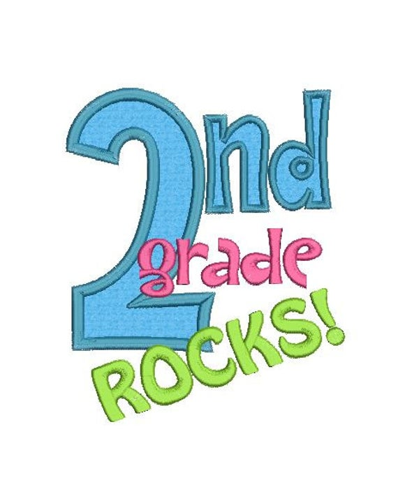 2nd Grade Rocks Applique Machine Embroidery Designs.