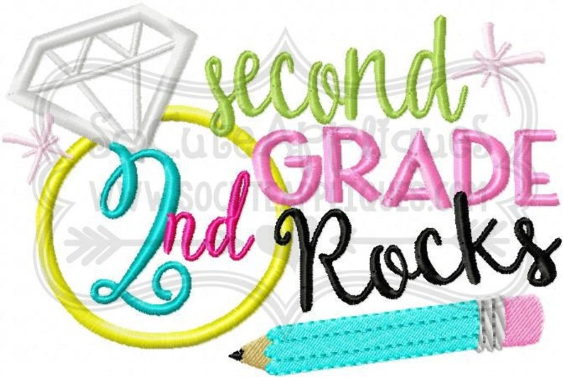 2nd grade rocks Embroidery design 5x7 6x10, socuteappliques, back to school  embroidery, School applique, embroidery sayings.