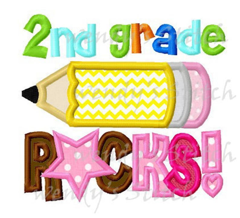 2nd grade rocks pencil applique machine embroidery design instant download.