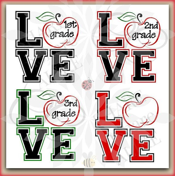 SVG Kindergarten 1st Grade 2nd 3rd Apple by SHAREnShareALIKE.