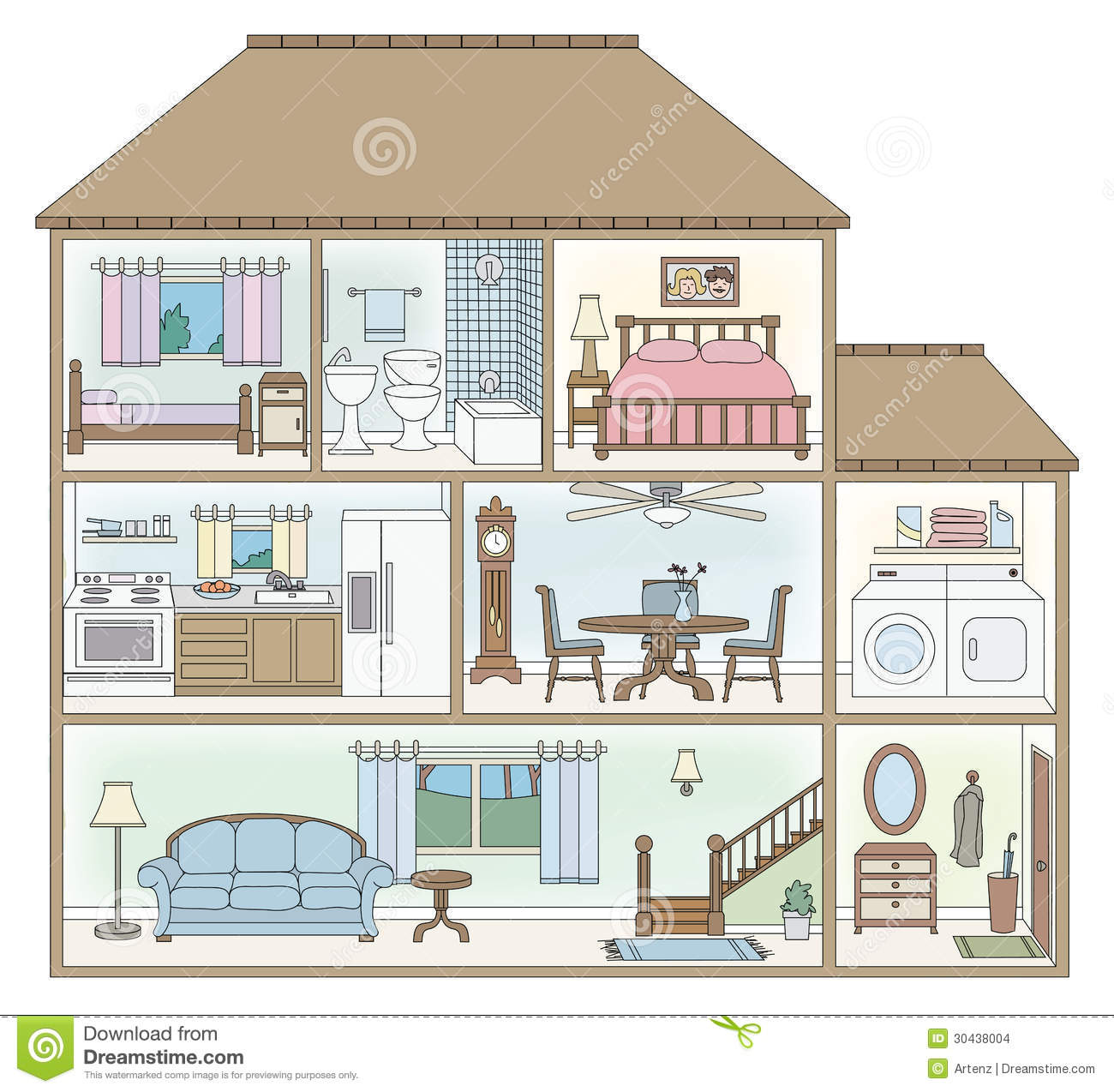 2 Story House Clipart.