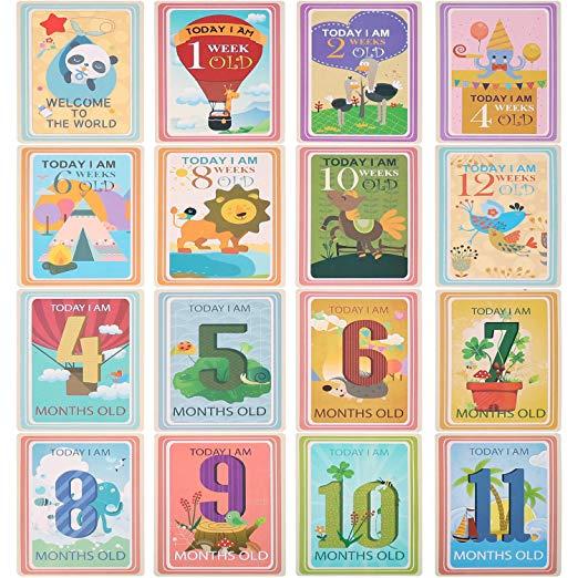 36 Sheet Milestone Photo Sharing Cards Gift Set Baby Age Cards, POAO Baby  Milestone Cards, Baby Photo Cards.