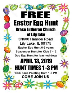 Community Easter Egg Hunt 1:00 pm to 3:00 pm.