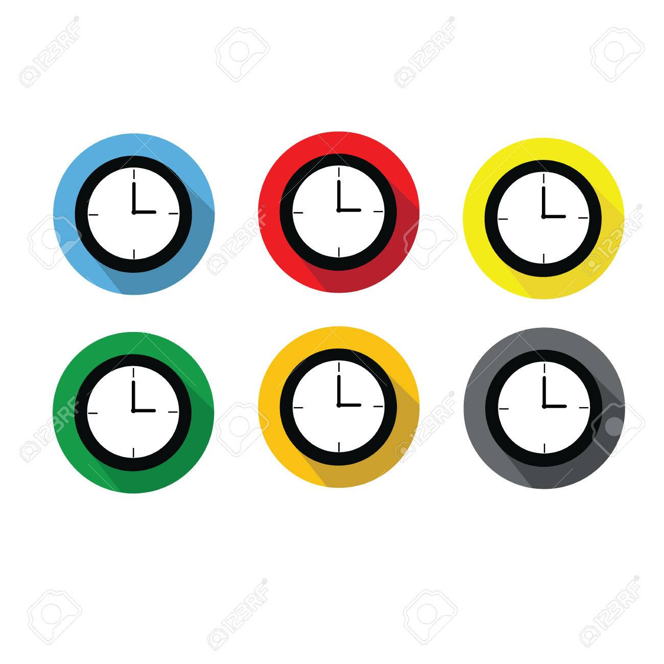 Clock at 3:00 a.m. or 3:00 p.m. flat 6 icons design with long...