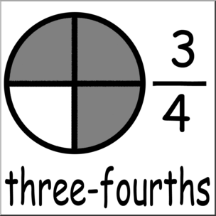 Clip Art: Labeled Fractions: 04 3/4 Three Fourths Grayscale.
