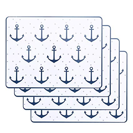 WHW Whole House Worlds Beach Chic Anchors Away Nautical Place Mats, Set of  4, Cork Backed Board, Heat Resistant, Cape Cod Coastal Style, Rectangles,.
