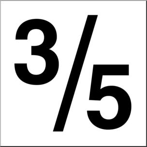 Clip Art: Numerical 05 3/5 B&W I abcteach.com.