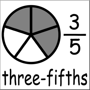 Clip Art: Labeled Fractions: 05 3/5 Three Fifths Grayscale I.