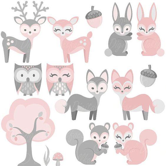Clipart Animal Woodland bébé, fille, bébé Clip Art, lapin rose.