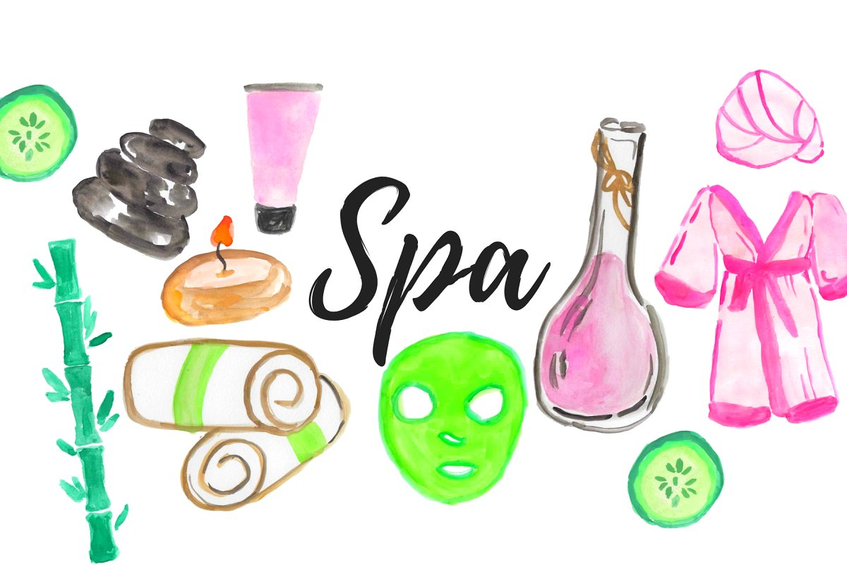 Watercolor Spa Beauty Clipart.