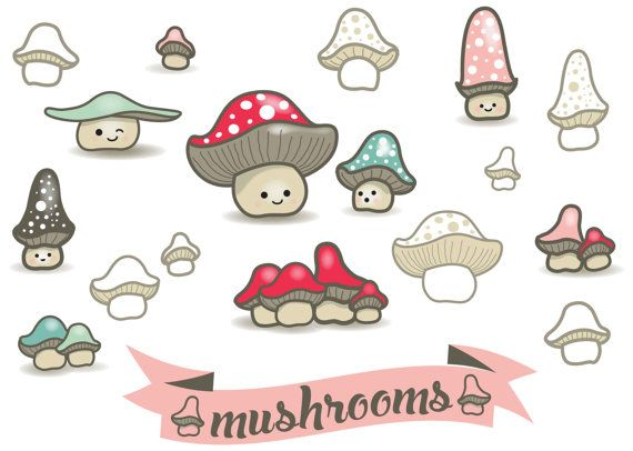 Vector clipart mushrooms with banner The by.