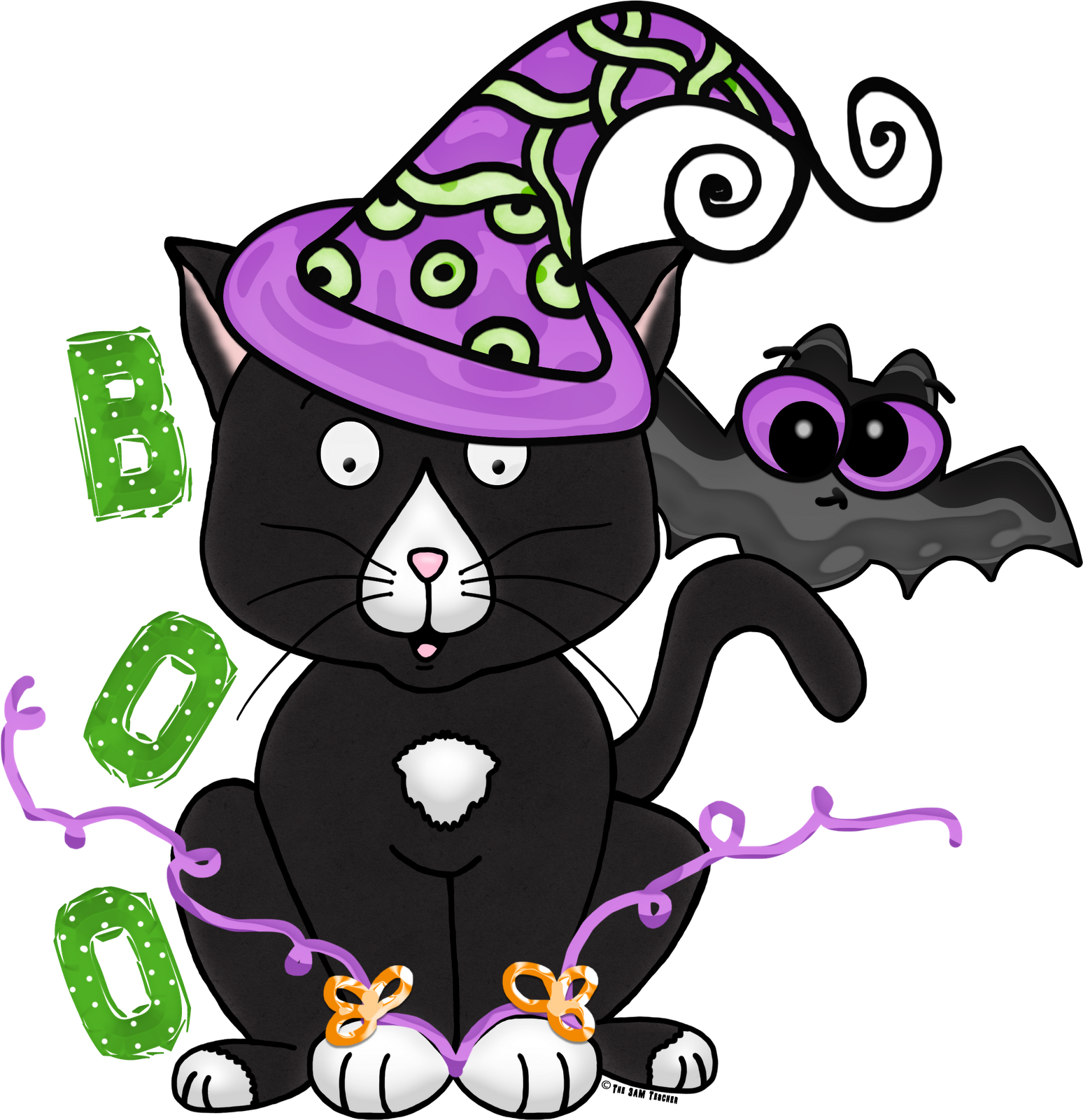 Free Halloween Kitty Clipart from the 3 AM Teacher (Download.