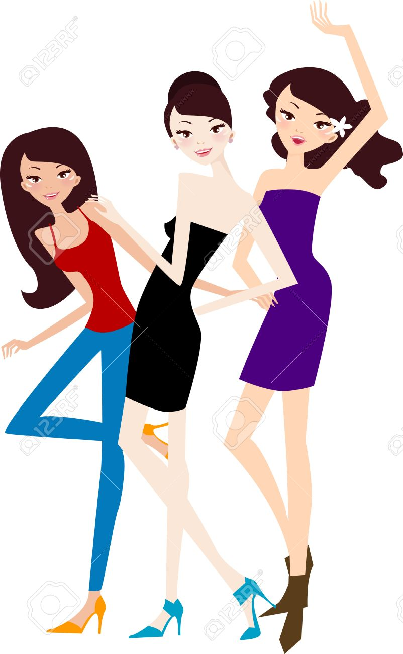 Group Of Girls Laughing Clipart.