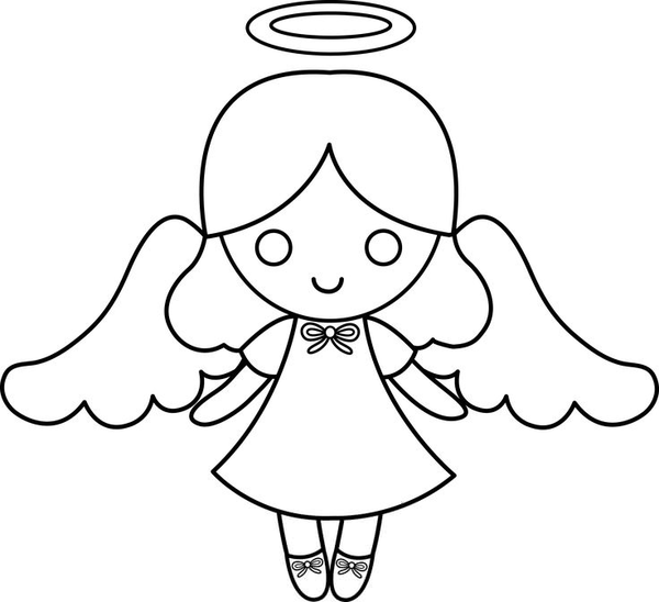Black And White Baby Angel Clipart.