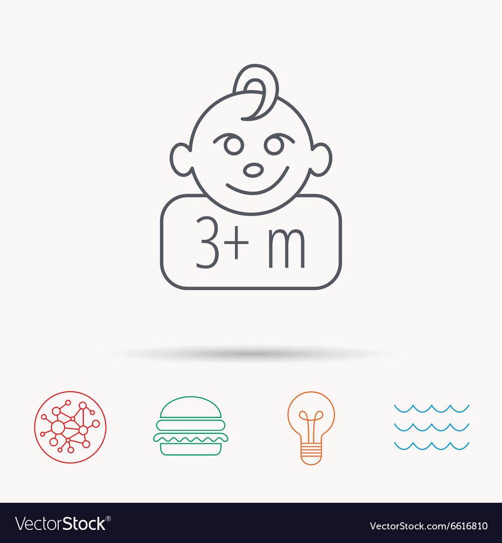 Baby face icon Newborn child sign.