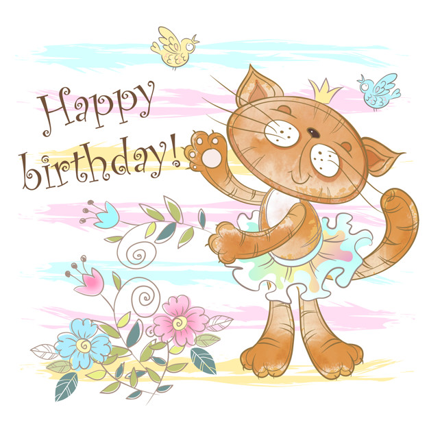 Birthday card with a cute cat ballerina. Vector.