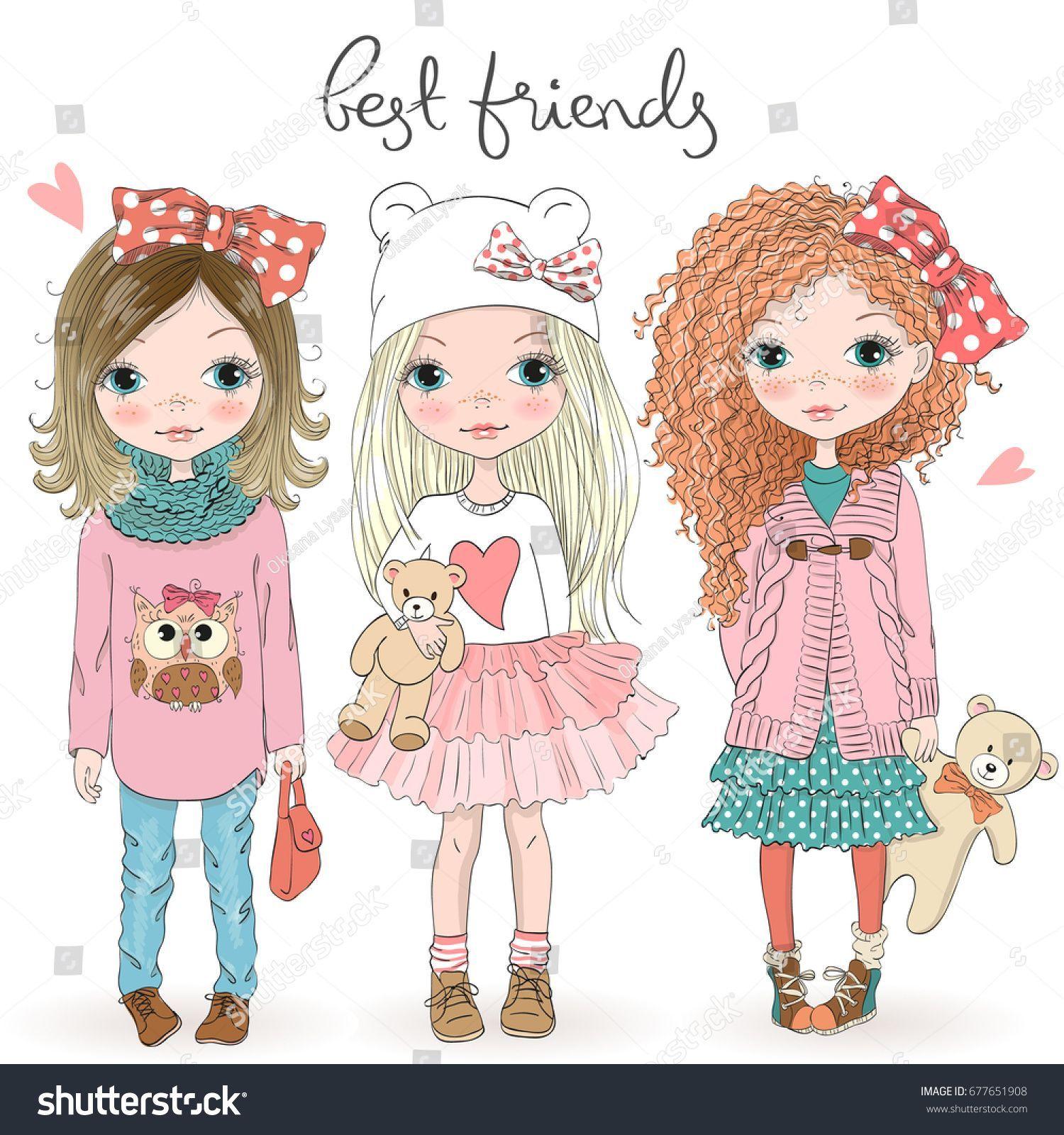 3 girl best friends clipart 8 » Clipart Portal.
