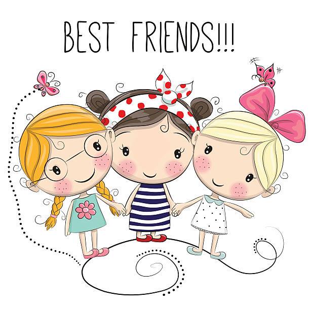 Best Three Friends Illustrations, Royalty.
