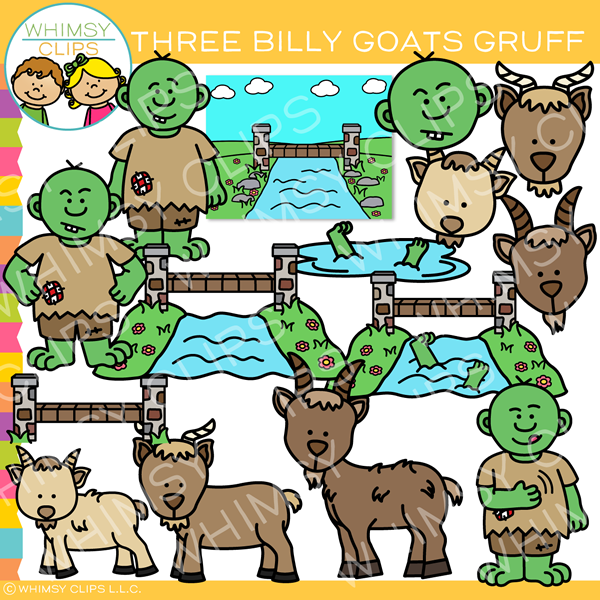 Three Billy Goats Gruff Clip Art.