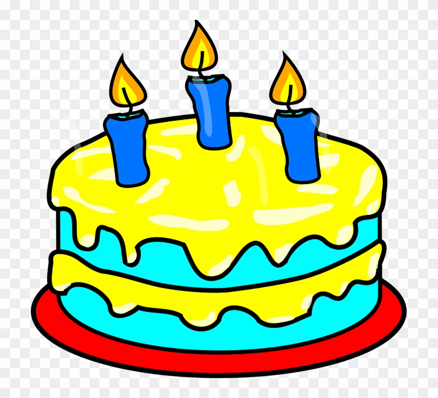 Birthday Cake 3 Candles Clipart (#120300).