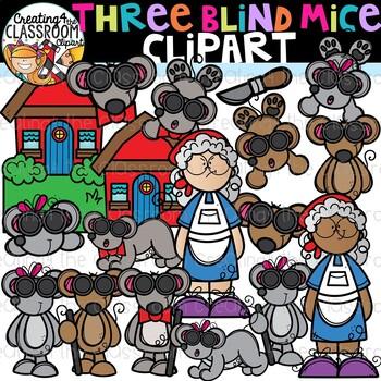 Three Blind Mice Clipart {Nursery Rhymes Clipart}.