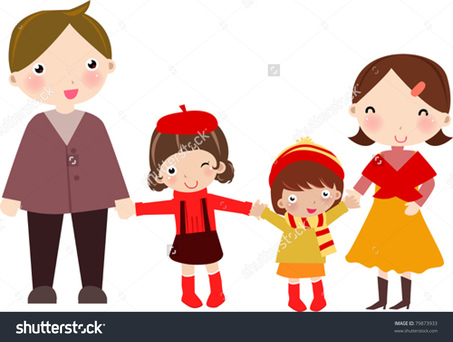 Family Of 4 With 2 Boys Clipart.