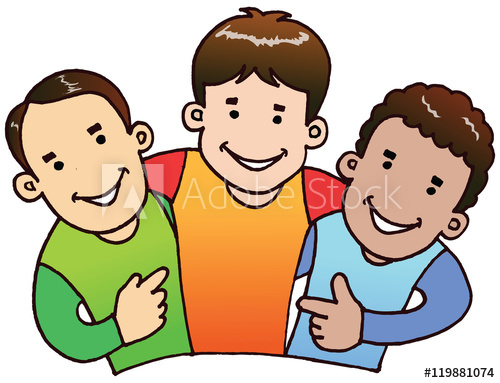 3 boys illustration vector. They were happy together and also need.