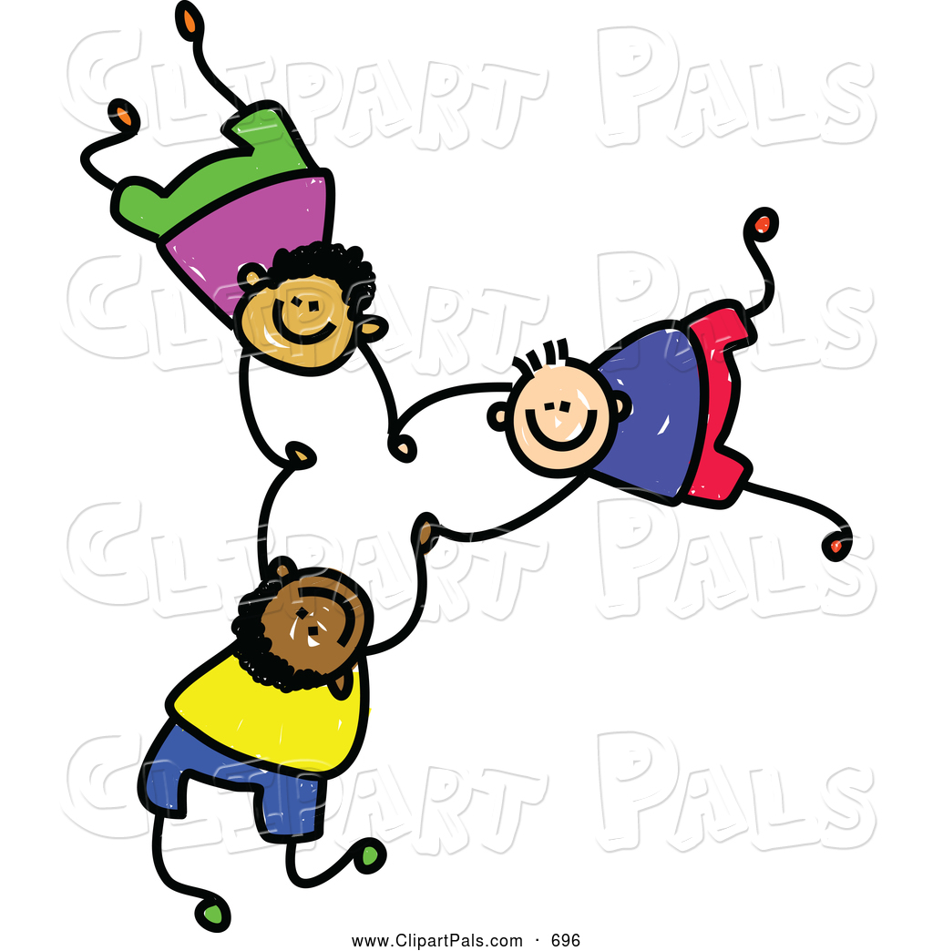 Pal Clipart of a Childs Sketch of 3 Boys Falling and Holding Hands.