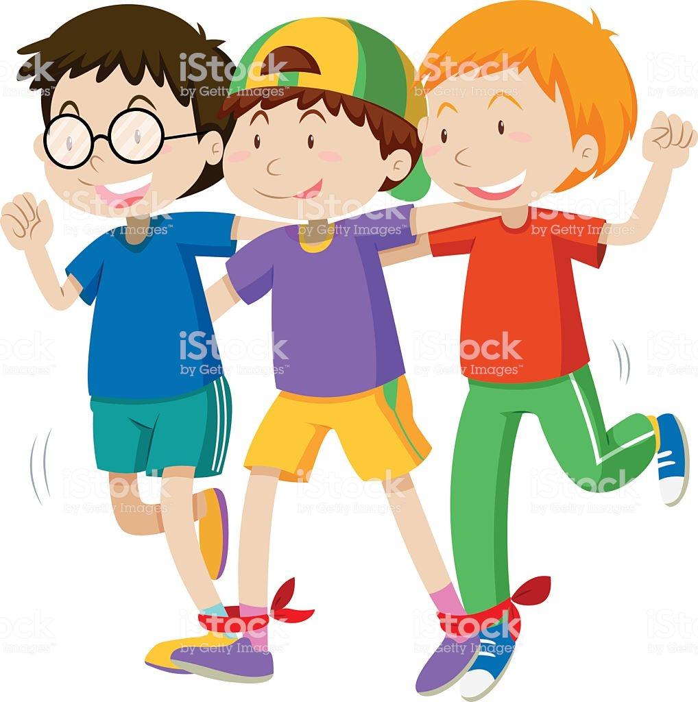 Three Boys Playing Game Stock Illustration.