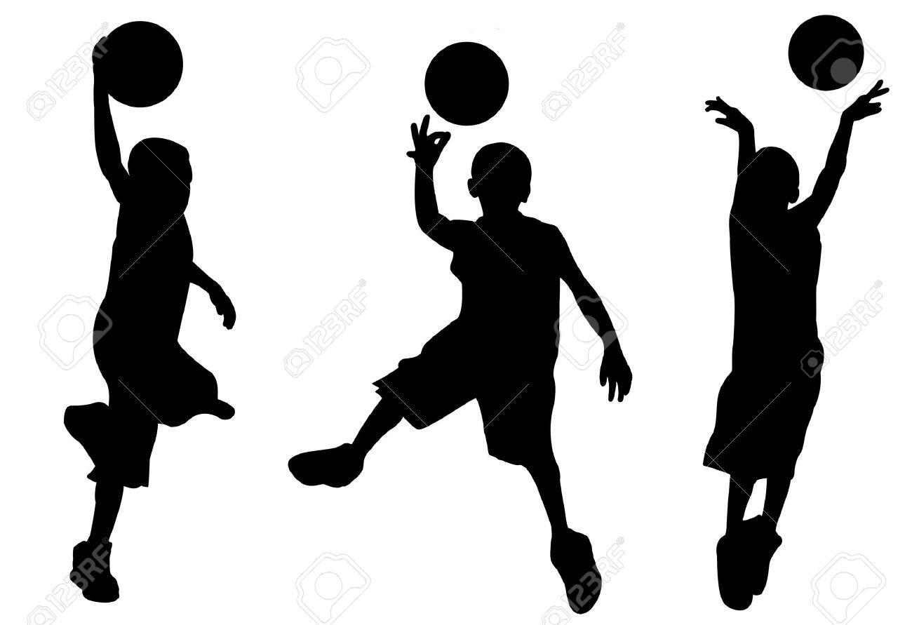Kid Playing Basketball Silhouette.