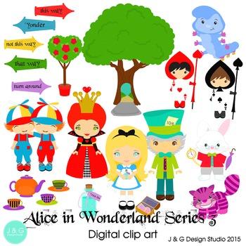 Alice in Wonderland Series 3, Children Digital Clipart.