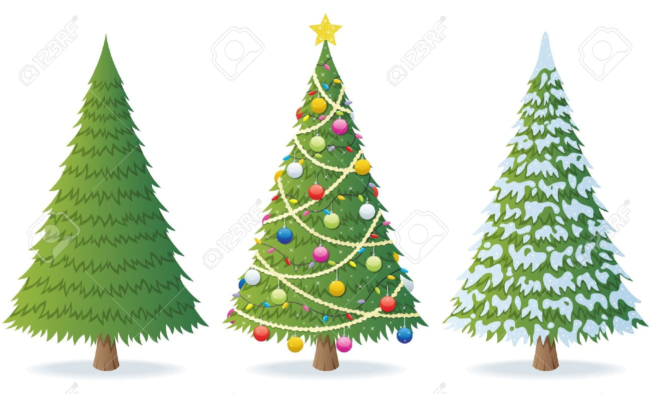 3 Christmas Trees Clipart.