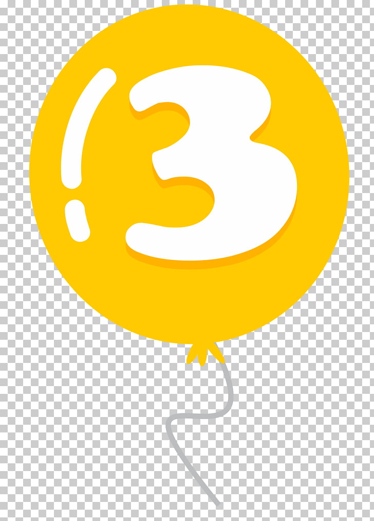 Balloon Drawing , Balloon number 3, yellow number 3.
