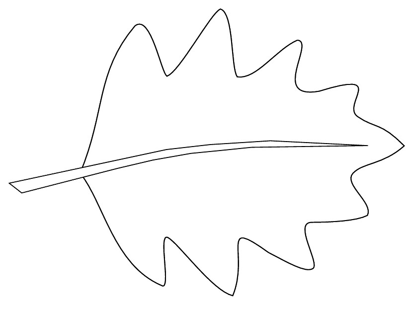 leaf 3 sketch clipart to colour, 14 cm long.