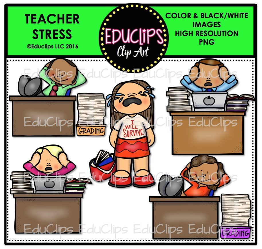 Teacher Stress Clip Art Bundle (Color and B&W).
