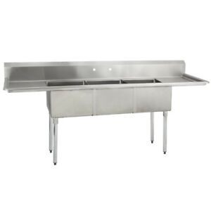 Details about (3) Three Compartment Commercial Stainless Steel Sink 60 x  25.8 G.