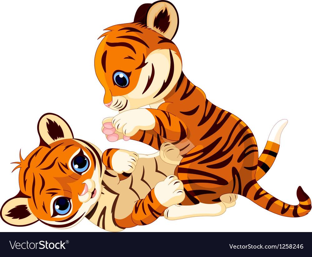 Cute playful tiger cub.