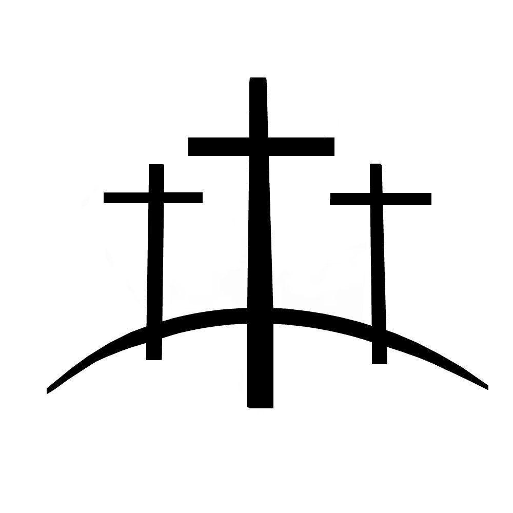 Calvary Hill Tattoo Three crosses on a hill tattoo.