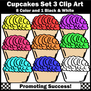 Set 3 Cupcakes Clip Art Commercial Use SPS.
