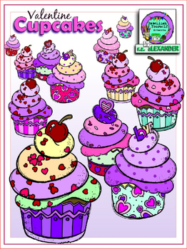 Valentine\'s Cupcakes Clipart (3 FREE Elements Included).